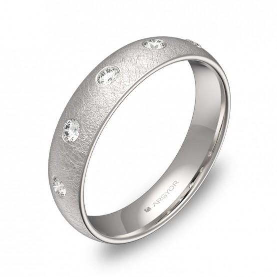 Alianza de media caña gruesa en oro blanco con diamantes A0145H5BB