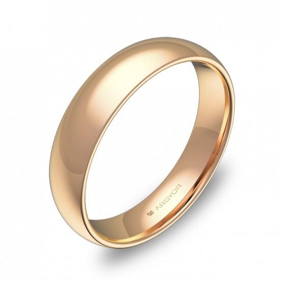 Alianza de media caña gruesa 4,5mm en oro rosa pulido A0145P00R