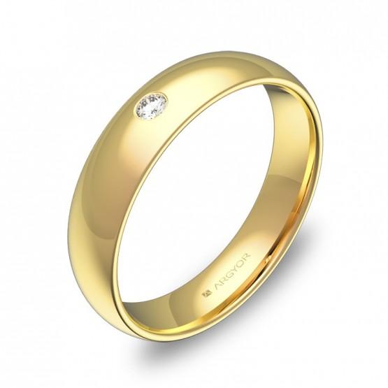 Alianza de media caña gruesa en oro amarillo con diamante A0145P1BA