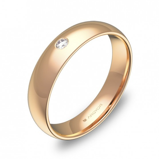 Alianza de media caña gruesa 4,5mm oro rosa con diamante A0145P1BR