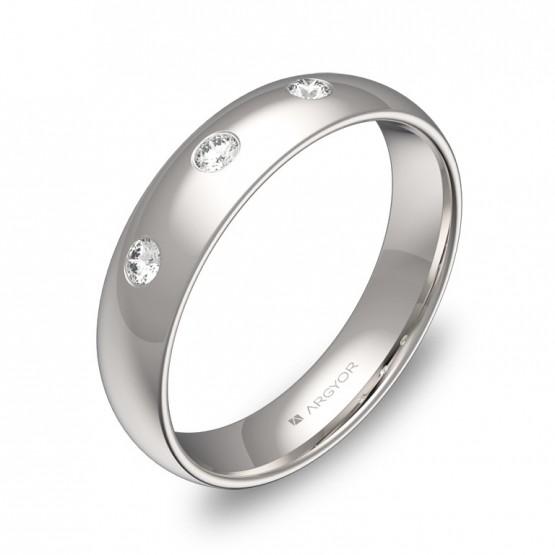 Alianza de media caña gruesa en oro blanco con diamantes A0145P3BB