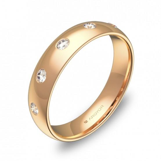 Alianza de media caña gruesa en oro rosa con diamantes A0145P5BR