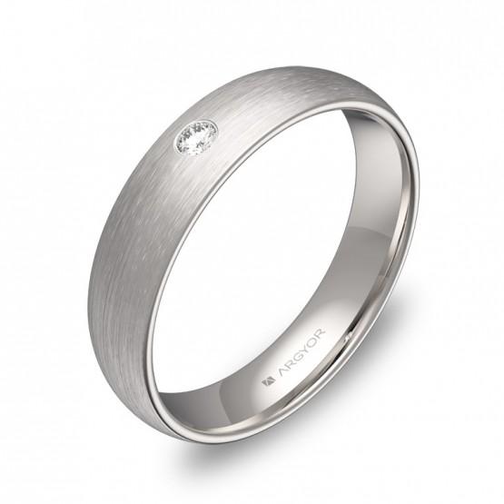 Alianza de boda 4,5mm en oro blanco satinado con diamante A0145S1BB