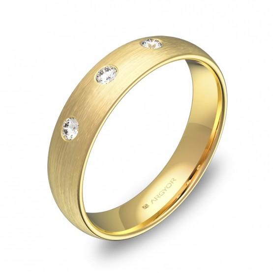 Alianza de boda media caña gruesa 4,5mm en oro y diamantes A0145S3BA
