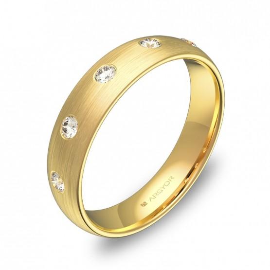 Alianza de boda de 4,5mm en oro satinado con diamantes A0145S5BA