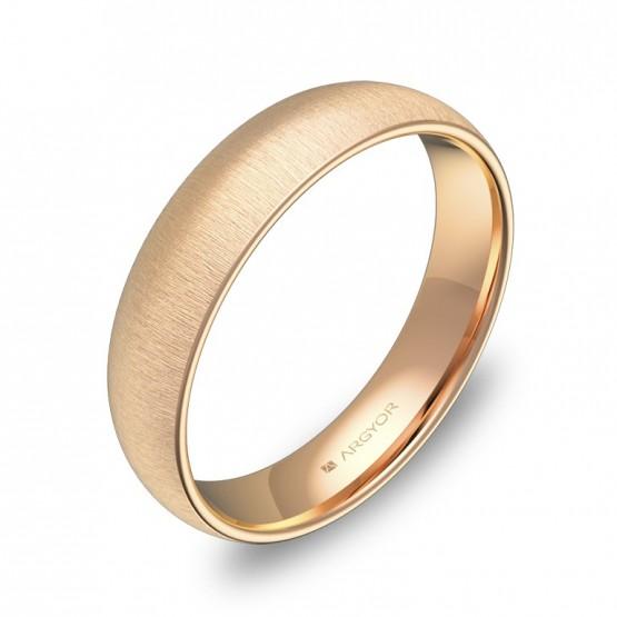 Alianza de boda de media caña 4,5mm en oro rosa rayado A0145T00R