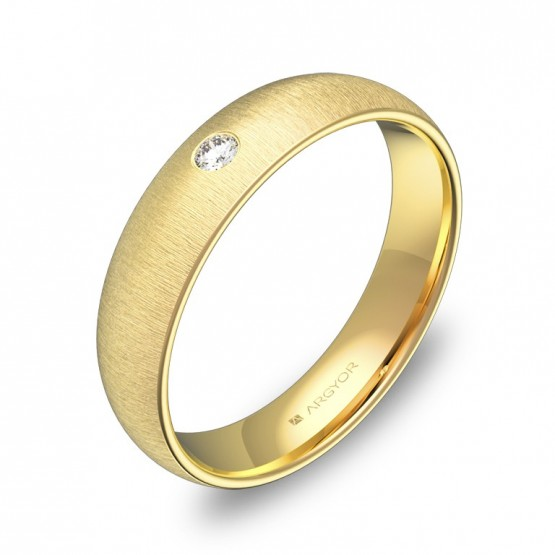 Alianza de boda de oro rayado media caña con diamante A0145T1BA
