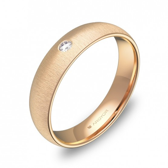 Alianza de boda de 4,5mm en oro rosa rayado con diamante A0145T1BR