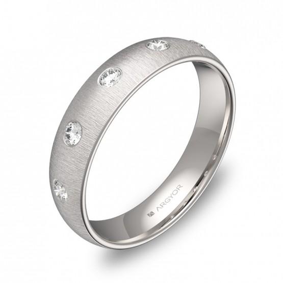 Alianza de boda media caña en oro blanco con diamantes A0145T5BB
