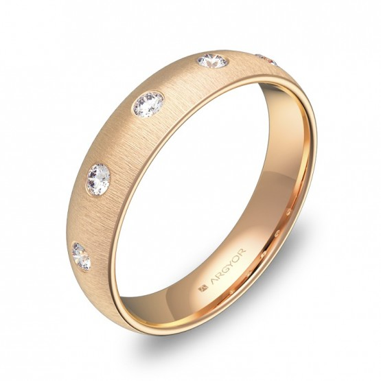 Alianza de boda de media caña gruesa oro rosa con diamantes A0145T5BR
