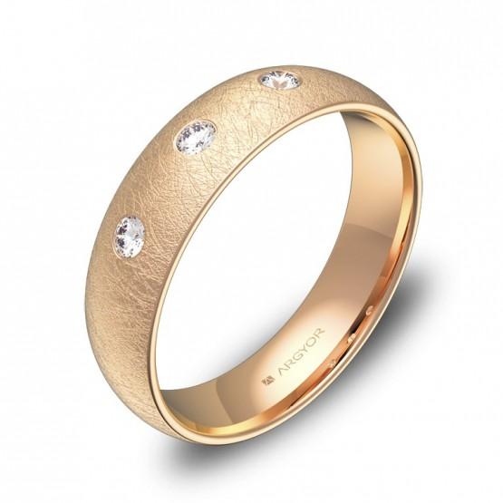 Alianza de boda 5,0mm oro rosa hielo con diamantes A0150H3BR