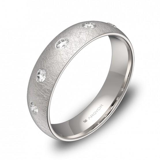 Alianza de boda en oro blanco hielo con 5 diamantes A0150H5BB