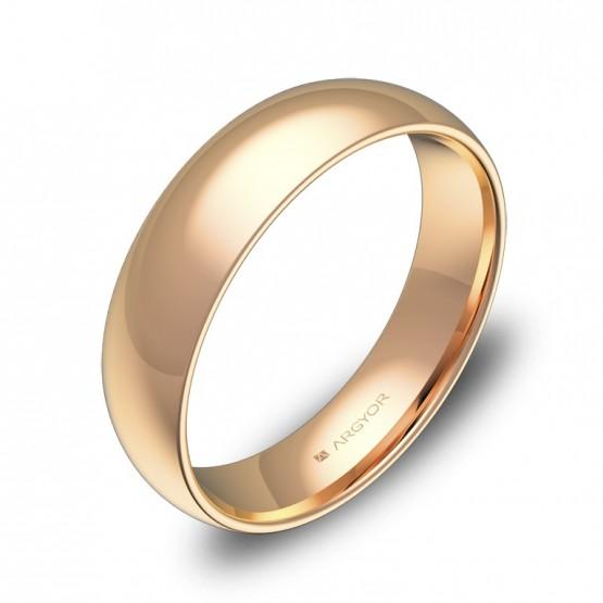 Alianza de boda de media caña gruesa en oro rosa pulido A0150P00R