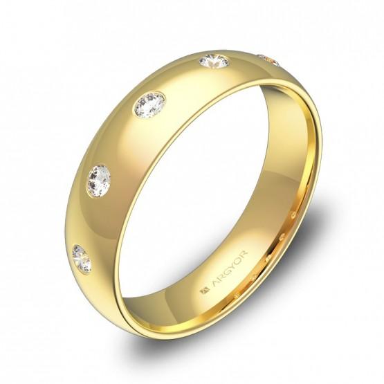 Alianza de boda 5,0mm en oro amarillo pulido con diamantes A0150P5BA