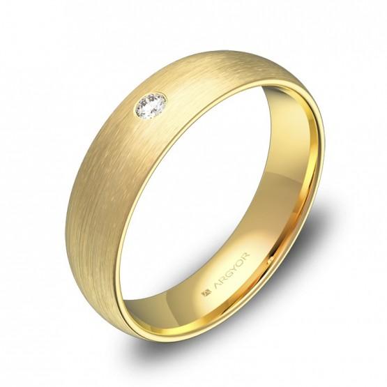 Alianza de boda de media caña 5,0mm en oro con diamante A0150S1BA