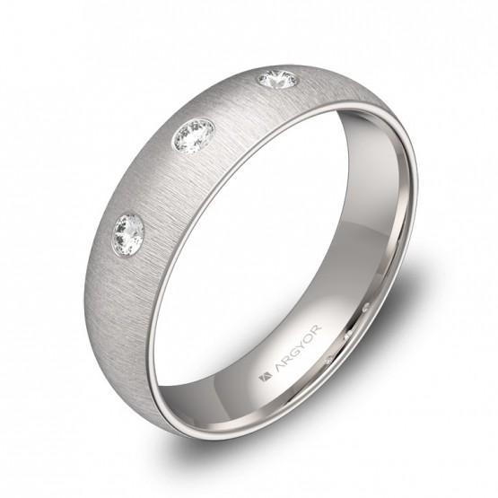 Alianza de media caña 5,0mm oro blanco con diamantes A0150T3BB