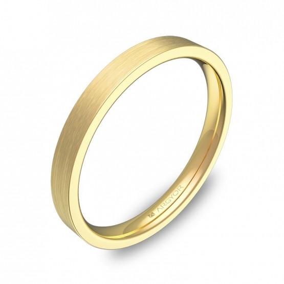 Alianza de boda plana gruesa 2,5mm en oro amarillo satinado B0125S00A