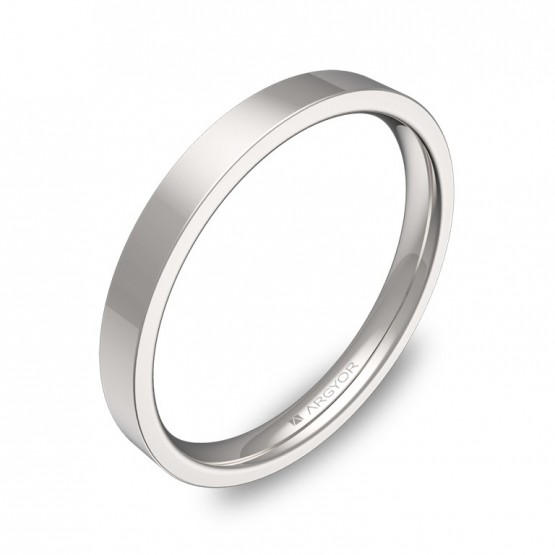 Alianza de boda plana gruesa 2,5mm en oro blanco pulido B0125P00B