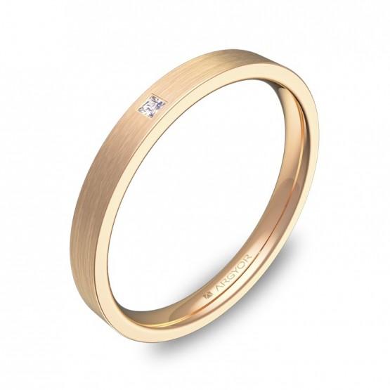 Alianza de boda 2,5mm en oro rosa satinado con diamante B0125S1PR