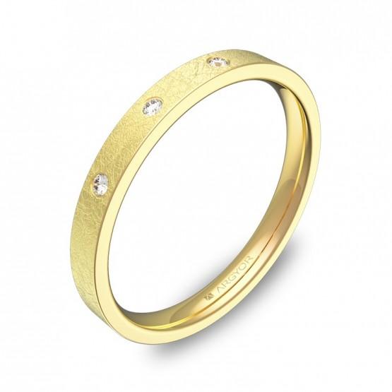 Alianza de boda 2,5mm en oro amarillo hielo con diamantes B0125H3BA
