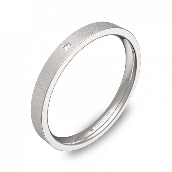 Alianza de boda 2,5mm oro blanco rayado 1 diamante B0125T1BB