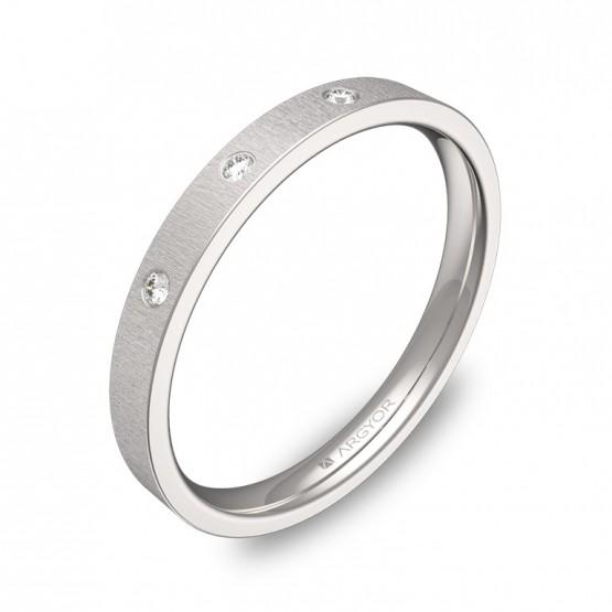 Alianza de boda en oro blanco rayado con diamantes B0125T3BB
