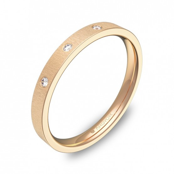 Alianza de boda oro rosa rayado con diamantes B0125T3BR