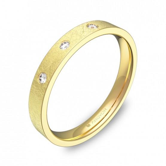 Alianza de boda en oro amarillo plana gruesa con diamantes B0130H3BA