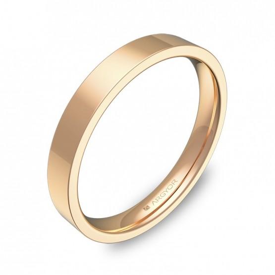 Alianza de boda plana gruesa 3,0mm en oro rosa pulido B0130P00R