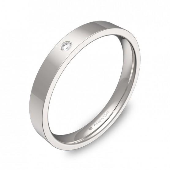Alianza de boda de oro blanco 3mm con diamante B0130P1BB