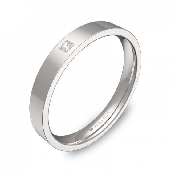 Alianza de boda de oro blanco pulido con diamante B0130P1PB