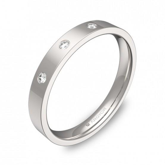 Alianza de boda 3,0mm oro blanco pulido 3 diamantes B0130P3BB