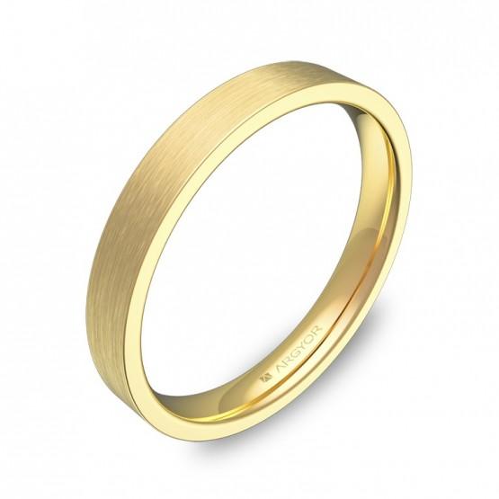 Alianza de boda plana gruesa 3,0mm en oro amarillo satinado B0130S00A