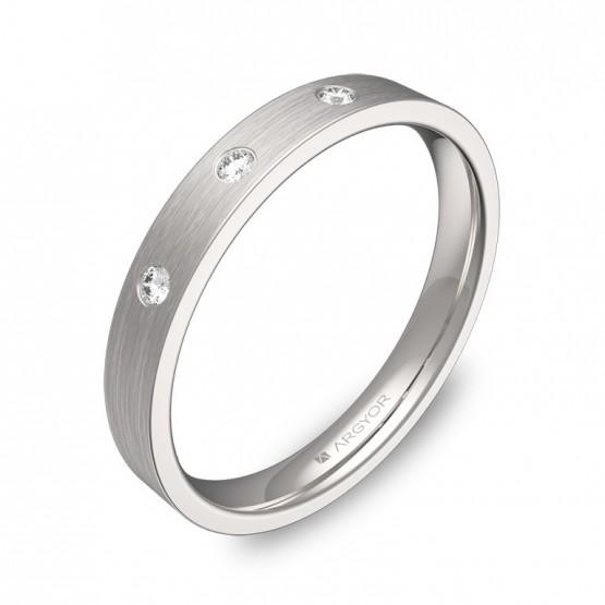 Alianza de boda oro blanco satinado con 3 diamantes B0130S3BB
