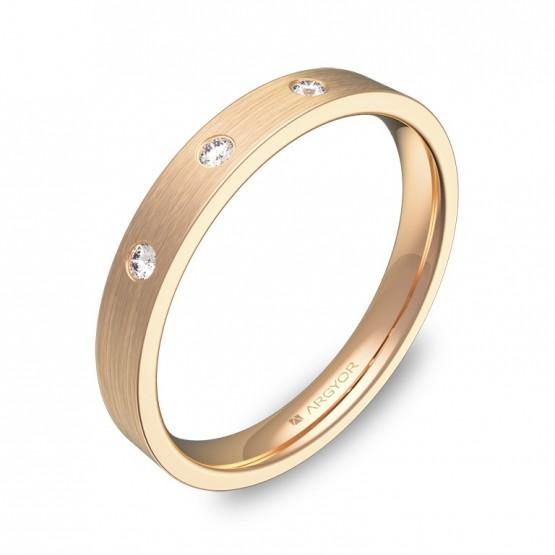 Alianza de boda oro rosa plana gruesa con diamantes B0130S3BR