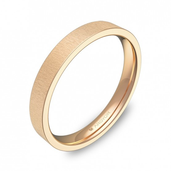 Alianza de boda plana gruesa 3,0mm en oro rosa rayado B0130T00R