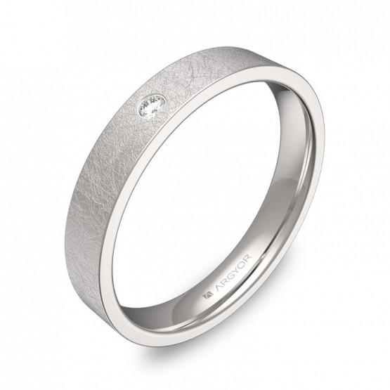 Alianza de boda de oro blanco plana gruesa con diamante B0135H1BB