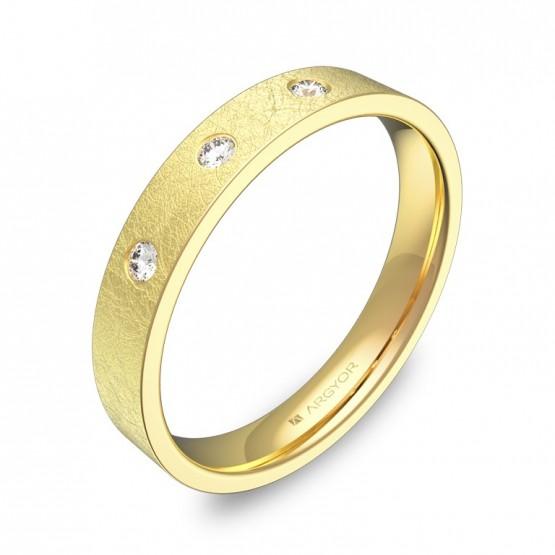 Alianza de boda plana gruesa en oro con diamantes B0135H3BA