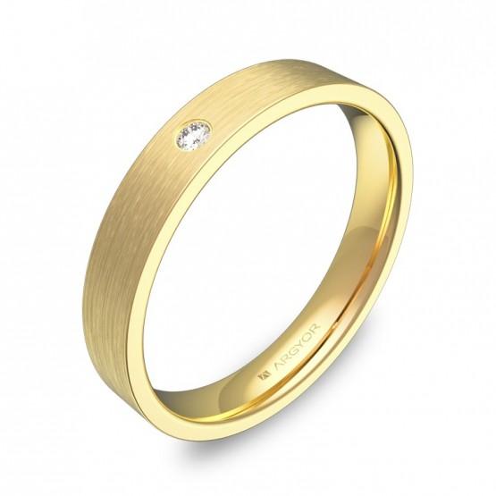 Alianza de boda oro amarillo satinado con diamante B0135S1BA