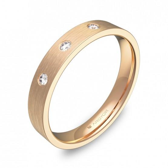 Alianza de boda oro rosa plana gruesa con diamantes B0135S3BR