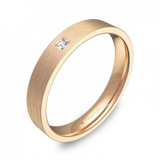 Alianza de boda oro rosa satinado 3,5mm con diamante B0135S1PR