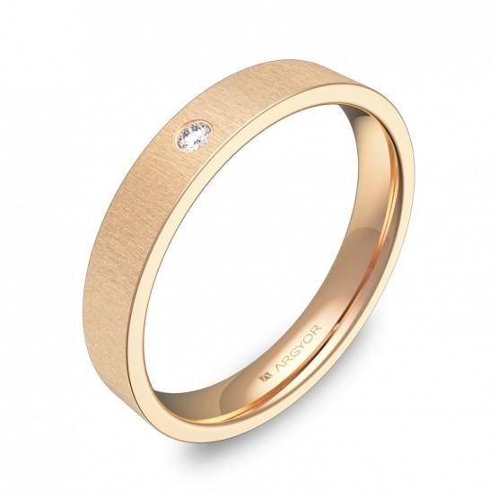 Alianza de boda 3,5mm en oro rosa rayado con diamante B0135T1BR
