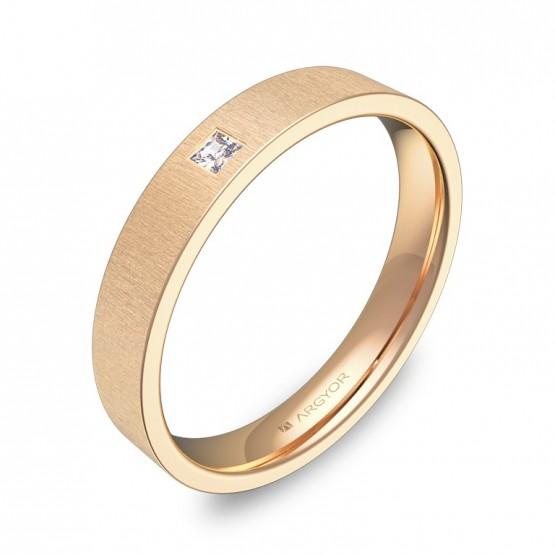 Alianza de boda plana gruesa en oro rosa con diamante B0135T1PR