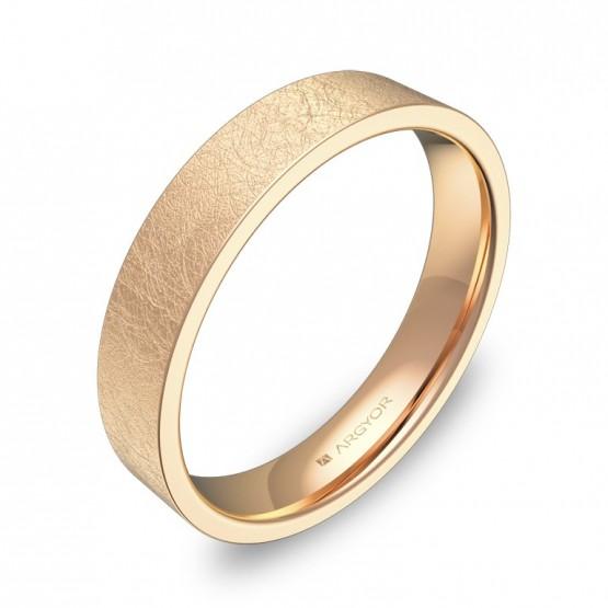Alianza de boda plana gruesa 4,0mm en oro rosa hielo B0140H00R