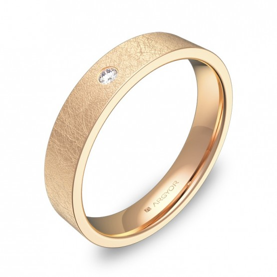 Alianza de boda 4,0mm oro rosa hielo con diamante B0140H1BR