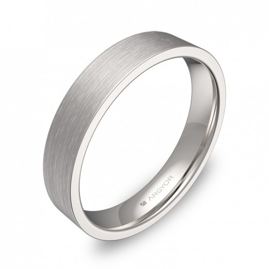 Alianza de boda plana gruesa 4,0mm en oro blanco satinado B0140S00B