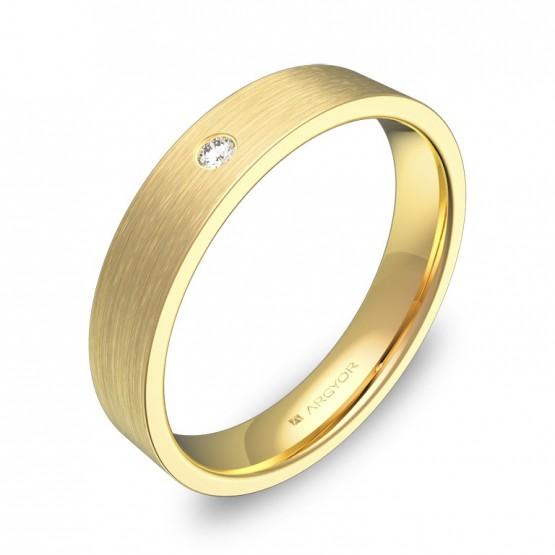 Alianza de boda 4,0mm en oro satinado con diamante B0140S1BA