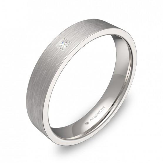 Alianza de boda oro blanco plana gruesa con diamante B0140S1PB