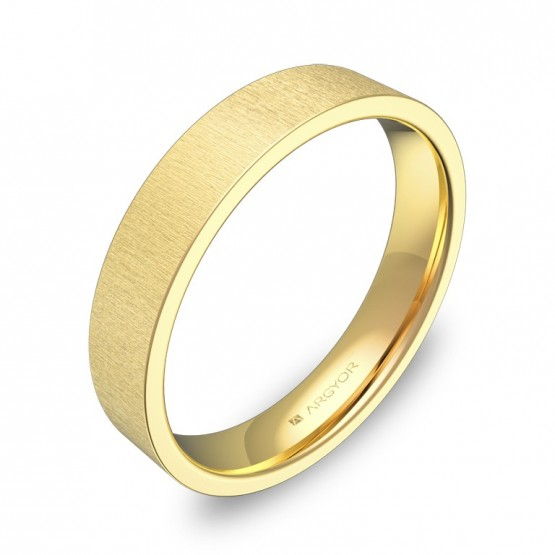 Alianza de boda plana gruesa 4,0mm en oro amarillo rayado B0140T00A