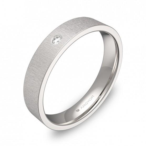 Alianza de boda plana 4mm oro blanco rayado con diamante B0140T1BB